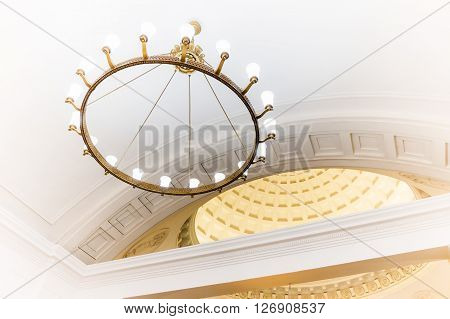MOSCOW - MARCH 3: Chandelier in Park Kultury metro station on March 3 2016 in Moscow. The station has a large imposing vestibule located on the corner of Komsomolsky Avenue and Garden Ring.