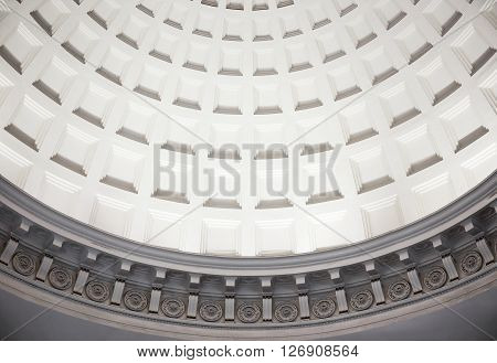 MOSCOW - MARCH 3: Dome with caissons inside Park Kultury metro station on March 3 2016 in Moscow. The station has a large imposing vestibule located on the corner of Garden Ring.