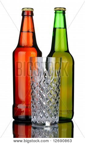Bottles Of Beer And Glass