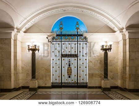 MOSCOW - MARCH 3: Gate at the dead end of the hall informally known as 'Nebo' (The Sky) in Oktyabrskaya metro station on March 3 2016 in Moscow. Designed by Leonid Polyakov who took the mid-19th century Neoclassical triumphal Empire style as the basis.