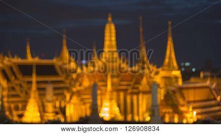 Thailand Grand palace, landmark, blurred bokeh lights night view