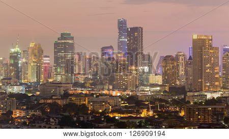 City office building light night view, night lights background