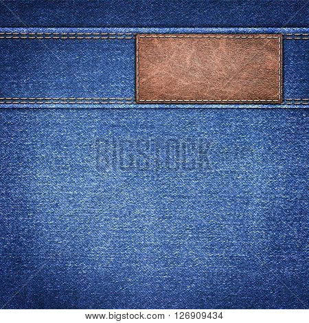 background simple denim with leather label close-up