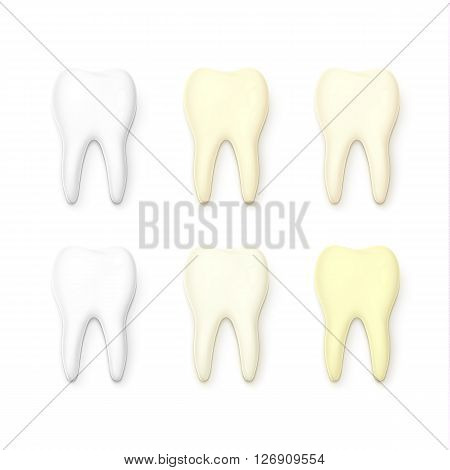Set of 6 teeth realistic isolated on white background . White tooth for dental services. Yellow teeth . Tooth with tooth decay. Molar. Teeth whitening . Tooth for a banner . Sick tooth.