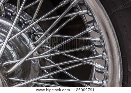 Vintage car spoke wheel, old wheel background