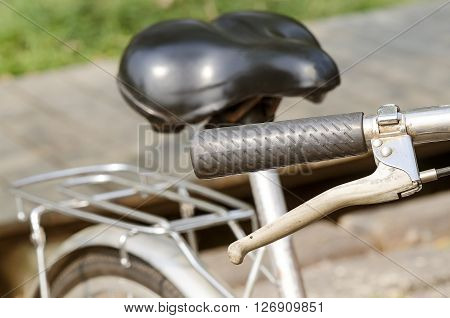 Close up Old Bicycle handlebar retro style color effect