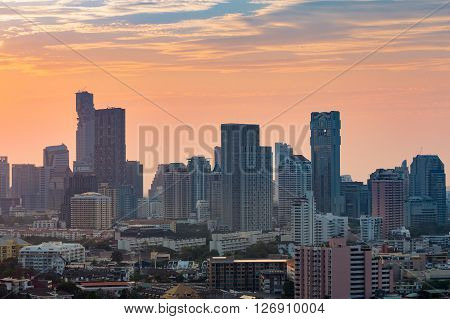 City office building before sunset, Bangkok down town