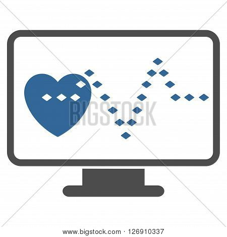 Cardio Monitoring vector toolbar icon. Style is bicolor flat icon symbol, cobalt and gray colors, white background, rhombus dots.