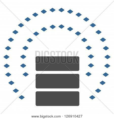 Database Sphere Shield vector toolbar icon. Style is bicolor flat icon symbol, cobalt and gray colors, white background, rhombus dots.