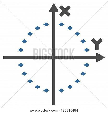 Dotted Circle Plot vector toolbar icon. Style is bicolor flat icon symbol, cobalt and gray colors, white background, rhombus dots.