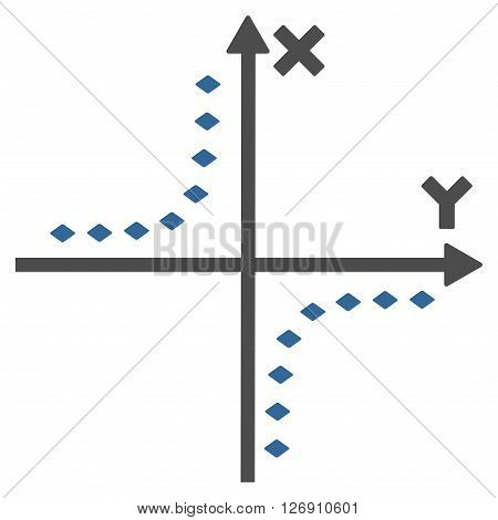 Dotted Hyperbola Plot vector toolbar icon. Style is bicolor flat icon symbol, cobalt and gray colors, white background, rhombus dots.