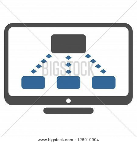 Hierarchy Monitoring vector toolbar icon. Style is bicolor flat icon symbol, cobalt and gray colors, white background, rhombus dots.