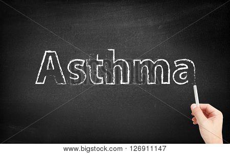 Asthma written on a blackboard