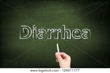 Diarrhea written on a blackboard