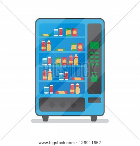 Vending machine with snacks and drinks. Machine automatic, public vending