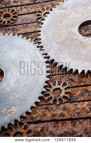 Old metal iron rust table and circular saws