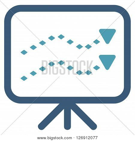 Dotted Trends Board vector toolbar icon. Style is bicolor flat icon symbol, cyan and blue colors, white background, rhombus dots.