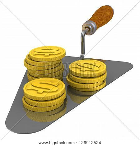 Coins of the US dollar lie on the trowel. Isolated. 3D Illustration