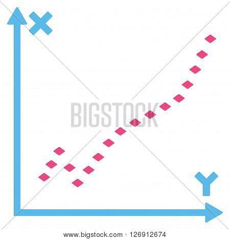 Dotted Function Plot vector toolbar icon. Style is bicolor flat icon symbol, pink and blue colors, white background, rhombus dots.