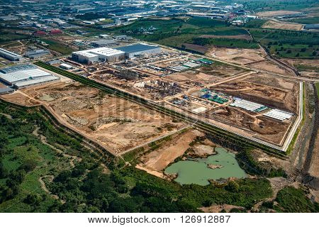 Industrial estate land development, earth moving aerial view