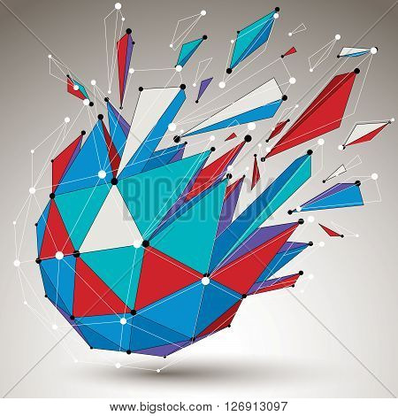 3d vector low poly digital object with connected lines and dots colorful geometric wireframe shape with different fractures.