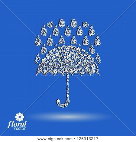 Beautiful flower-patterned umbrella under rain drops. Stylized accessory parasol rainy weather graphic vector icon.