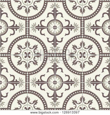 Geometric seamless  pattern  white Turkish, Moroccan, Portuguese  tiles, Azulejo, Arabic ornament. Islamic art.  The sepia colors