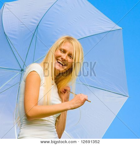 Funny Blonde under White Brolly