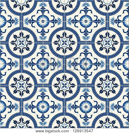 Gorgeous seamless  pattern  white Turkish, Moroccan, Portuguese  tiles, Azulejo, Arabic ornament. Islamic art.   Can be used for wallpaper, pattern fills, web page background, surface textures.
