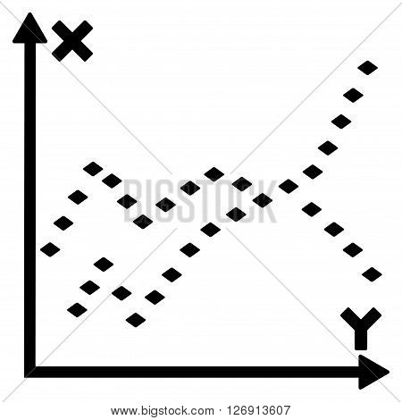 Dotted Functions Plot vector toolbar icon. Style is flat icon symbol, black color, white background, rhombus dots.