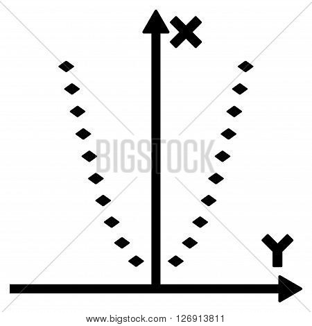 Dotted Parabola Plot vector toolbar icon. Style is flat icon symbol, black color, white background, rhombus dots.