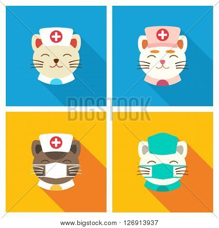 Cats in clothes of doctors. Vector illustration flat.