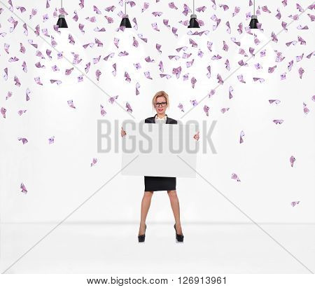 Businesswoman Holding Blank Poster.