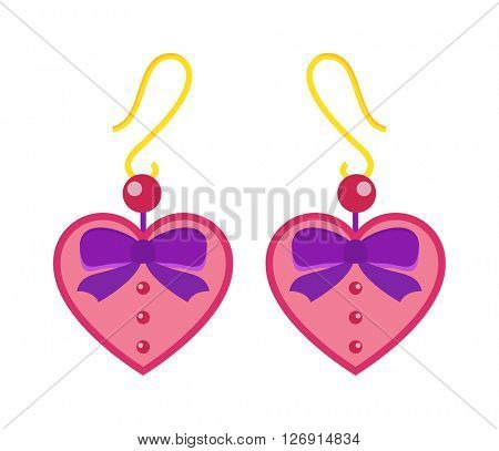 Hearts earrings beautiful pink accessory isolated.