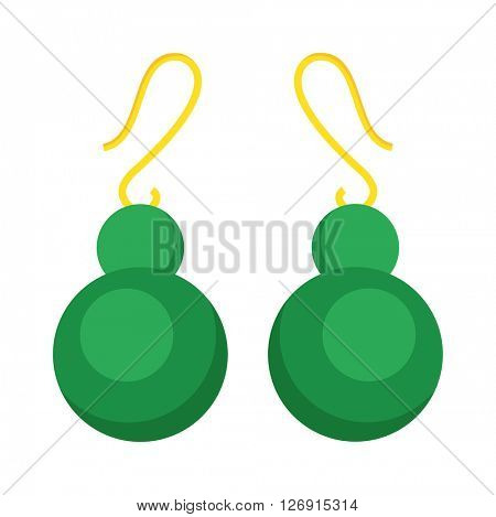 Green earrings beautiful accessory isolated.