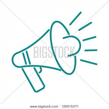 Thin line megaphone icon vector illustration.