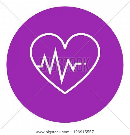 Heart with cardiogram line icon.