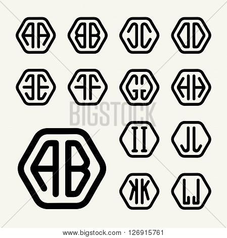 Set 1 template letters to create monograms of two letters inscribed in a hexagon in modern style