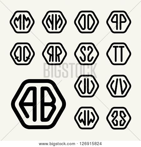 Set 2 template letters to create monograms of two letters inscribed in a hexagon in modern style