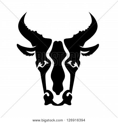 Bull Head Silhouette Isolated on White Background. Bull Icon. Bull Logo. Bull Head. Bull Front View. Bull Horns. Bull Silhouette. Bull Icon App.