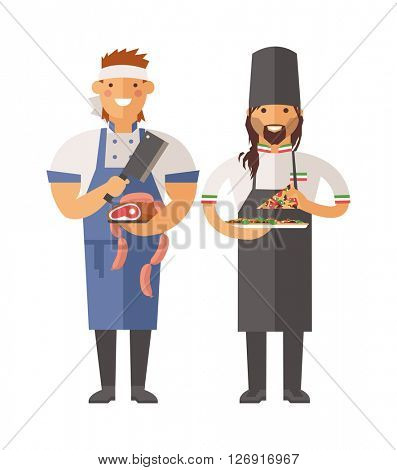Cartoon butcher and pizza chef vector character illustration