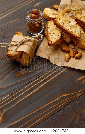 Italian cantuccini cookie with almond filling. Studio shot, isolated on wooden background ** Note: Shallow depth of field
