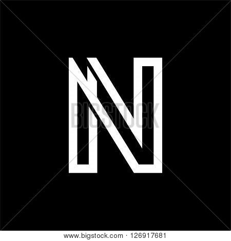 Capital letter M. From the white interwoven strips on a black background. Template for emblem, logos and monograms.