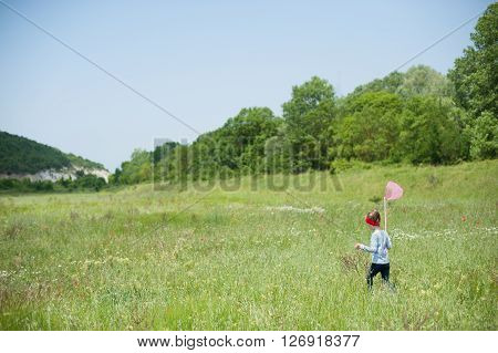 girl with a butterfly net catching insects in the meadow