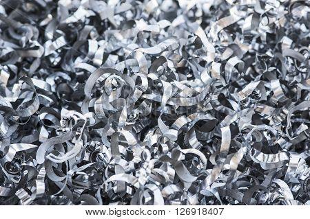A Close-up of heap of aluminum swarfs