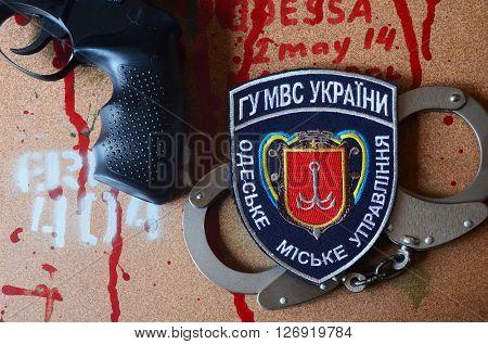 ILLUSTRATIVE EDITORIAL.Kiev,Ukraine.APR 20.Chevron Ukrainian police in Odessa. April  20,2016 in Kiev, Ukraine