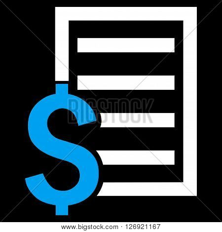 Contract vector icon. Style is bicolor flat symbol, blue and white colors, black background.