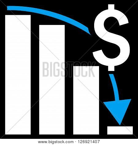 Financial Crisis vector icon. Style is bicolor flat symbol, blue and white colors, black background.