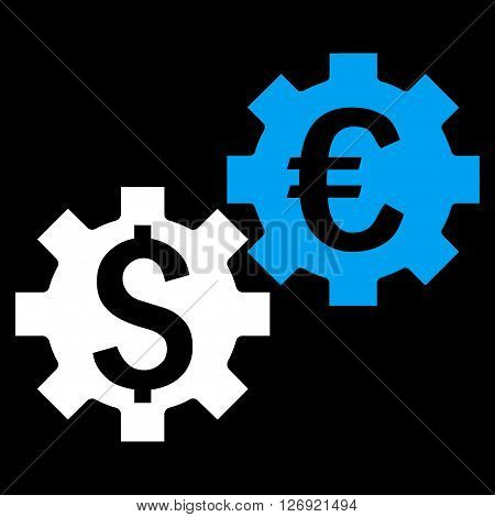 Financial Mechanics vector icon. Style is bicolor flat symbol, blue and white colors, black background.