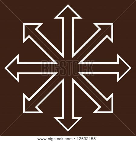 Maximize Arrows vector icon. Style is stroke icon symbol, white color, brown background.